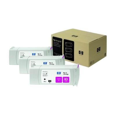 HP 83 Magenta UV DJ Ink Cart, 680 ml, 3-pack, C5074A