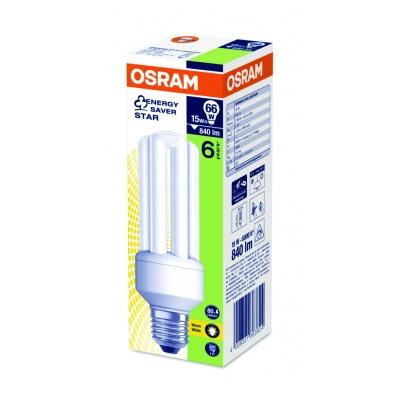 OSRAM zářivka DULUX STICK kompaktní závit  240V 15W 827 E27 noDIM A Sklo matné 900lm 2700K 10000h (krab. se závěsem 1ks)