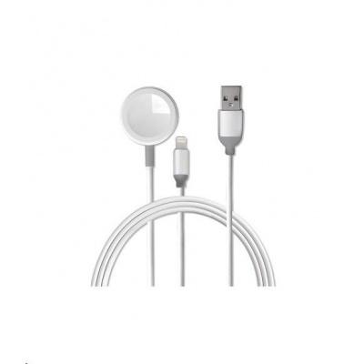 4smarts nabíjecí kabel VoltBeam mini 2v1 pro Apple Watch a iPhone, délka 1 m, bílá