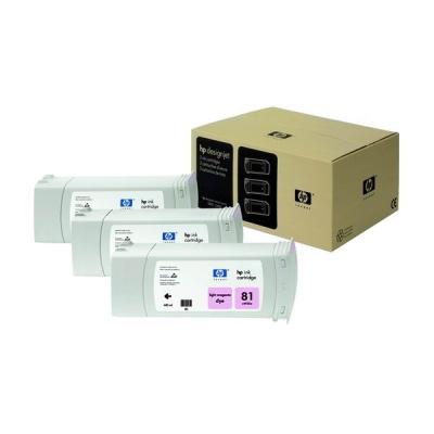 HP 81 Light Magenta DJ Ink Cart, 680 ml, 3-pack, C5071A