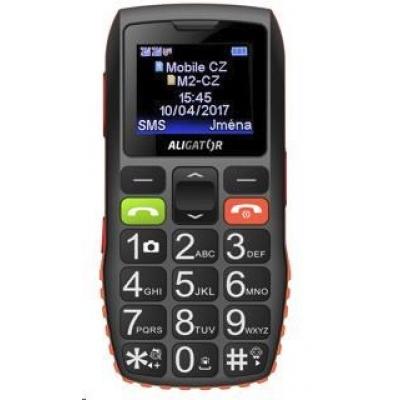 Aligator A440 Senior Dual SIM, černá-oranžová + nabíjecí stojánek